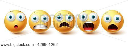 Emojis Shocked Face Vector Set. Emoji And Emoticon Shock, Scared And Sad Collection Isolated In Whit