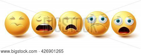 Emoji Sad Vector Set. Emojis And Emoticon Lonely, Shocked And Depressed Yellow Faces Collection Isol