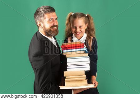 Father Leading His Pupil Daughter To School. Portrait Of Modern Family Dad And Little Girls Isolated