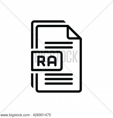 Black Line Icon For Ra Raw File Format Document Paper Text