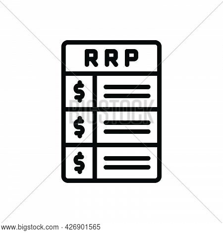Black Line Icon For Rrp Paper List Concept Method Recommended-retail-price
