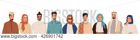 Team Of Modern Arab Muslim People. Group Portrait Of Arabian Man In Headwear And Woman In Hijab. Hap