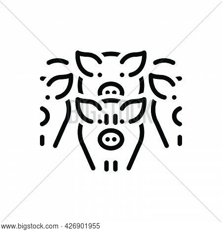 Black Line Icon For Drove Herd Fold Pig Meat Swarm