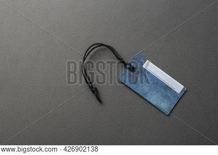 Blank Tag Tied With String. Price Tag, Gift Tag, Sale Tag, Address Label Isolated On Gray Background