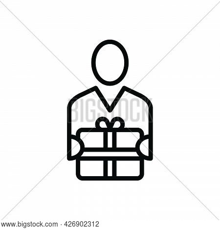 Black Line Icon For Recipients Receiver Beneficiary Donee Gift Recipient Consignee Finder