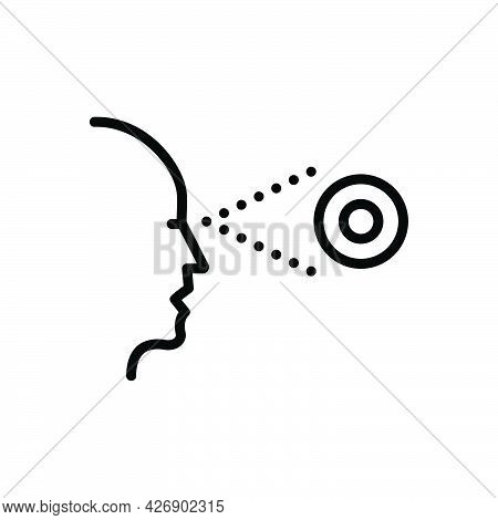 Black Line Icon For Perceived Recognized Lens Sight Observe Eyesight Eyeball Glimmers Optical