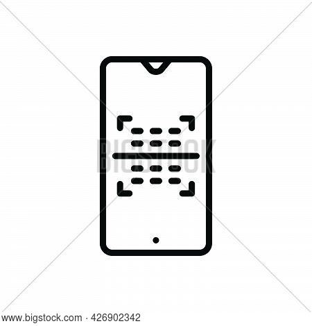 Black Line Icon For Scanned Code Barcode Scanner Phone Digital Scan
