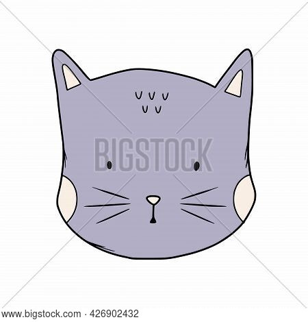 Cute Cat In Style Of Doodles. Muzzle Of Animal. Sticker For Children.