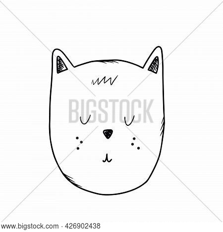 Cat With Its Eyes Closed. Muzzle Of  Kitten Is In  Style Of Doodles. Vector Symbol With  Black Line.