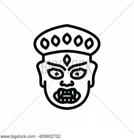 Black Line Icon For Hemis Ancient Buddhism Mask-dance Monastery Culture Leh Ladakh Tibet Festival