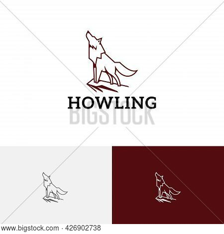 Howling Wolf On Cliff Mountain Wild Animal Line Logo