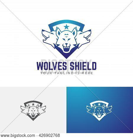 Three Wolves Head Star Shield Game Esport Logo