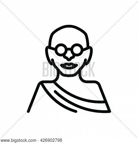 Black Line Icon For Jayanti Mahatma-gandhi Birthday Freedom-fighter Bapu Celebration Festival