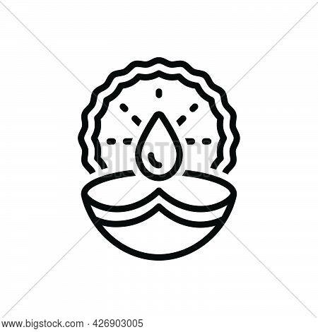 Black Line Icon For Diwali Lamp Deepawali Dipawali Auspicious Festival-of-lights Candle Festival Cul
