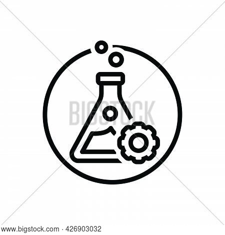 Black Line Icon For Experiment Test Trial Use Chemical Beaker Flask Glassware