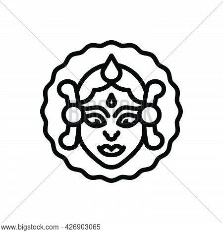 Black Line Icon For Durga-puja Goddess-durga Navratri Dussehra Hindu Religious Mythology Culture Cel