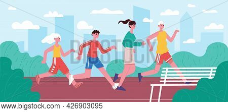 Running Family. Jogging Dad, Mom And Kids, Active Healthy Lifestyle Parenting Motivation, Parents An