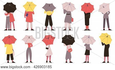 People With Umbrella. Fall Rainy Weather Day Characters Hiding Under Umbrella Back View Vector Illus