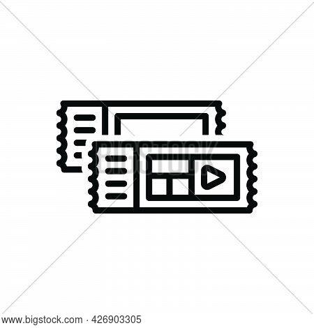 Black Line Icon For Tickets Pass Event-pass Voucher Talon Coupon Cinema Entertainment