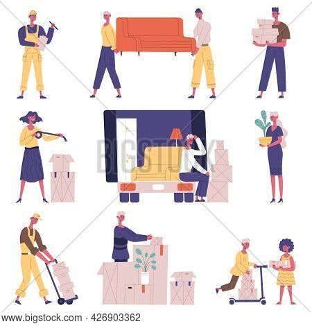 Moving Relocation People. Relocation Delivery Service Characters, People Carrying Furniture And Card