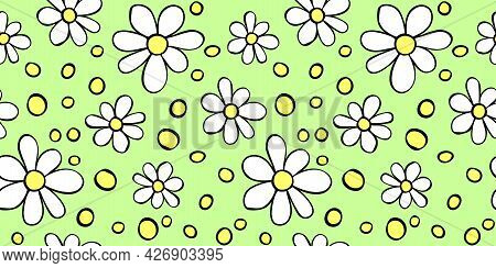 Vector Simple Primitive Floral Seamless Pattern. Cute Endless Print With Flowers Drawn By Hand. Sket
