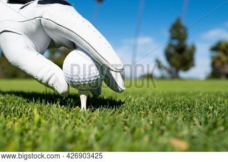 Closeup Hand In Golf Gloves Putting Golf Ball On Tee In Golf Course. Golf Ball In Grass.