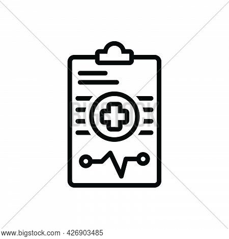 Black Line Icon For Diagnosis Medical Report Cardiogram Healthcare Notepad Pulse