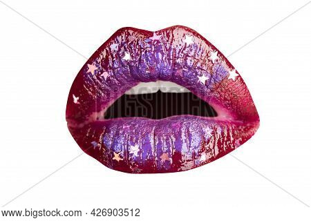 Open Mouth Woman Close Up. Sexy Red Female Lips. Sensual Open Mouth. Isolated Lip, Surprised Wow Ico