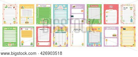 Daily Note Planners. Weekly Scheduler, To Do List, Note Paper Or Organiser Sheets With Hand Drawn St