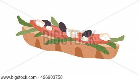 Vegetarian Sandwich With Fresh Vegetables And Baguette. Healthy Fast Food. Snack With Tomato Slices,