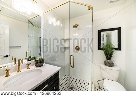 Stylish Luxurious Bathroom Design With Black And Gold Fixtures