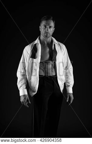 Fit Man Show Strong Torso With Six Pack Abs In Open Shirt Groom Style Wedding Fashion Black Backgrou