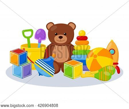 Kid Toys In Playing Room, Vector Illustration