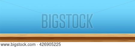 Wood Plank Empty, Plank Table In Front View, Wooden Desk, Wood Plank Top On Light Blue For Backgroun
