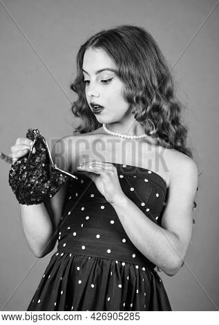 Glamour Fashion Model. Girl Vintage Fashion. Pretty Girl Look Into Glamour Bag. All About Female Han