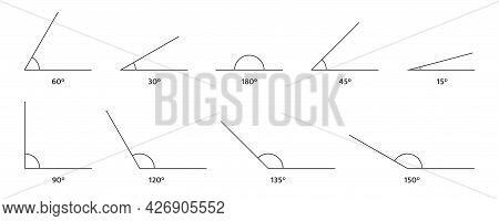 Angle Icons Set. 150, 135 120, 90 180 60, 45 30, 15 Degree Measure. Math Geometric Design Element. T