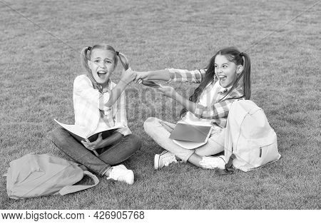 Girls School Pupils Doing Homework Together On Fresh Air, Sisters Rivalry Concept