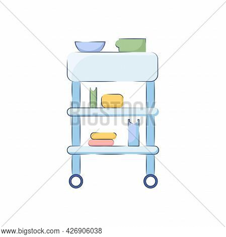 Medical Table Trolley On Wheels With Various Accessories. Furniture For A Doctor's Office Isolated O