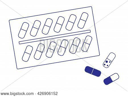 The Outline Illustration On A White Background Is Depicted As A Blister With Medical Pills Or Vitami