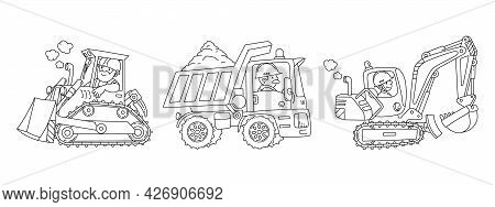 Heavy Construction Machinery. Cars With Drivers Coloring Book Set
