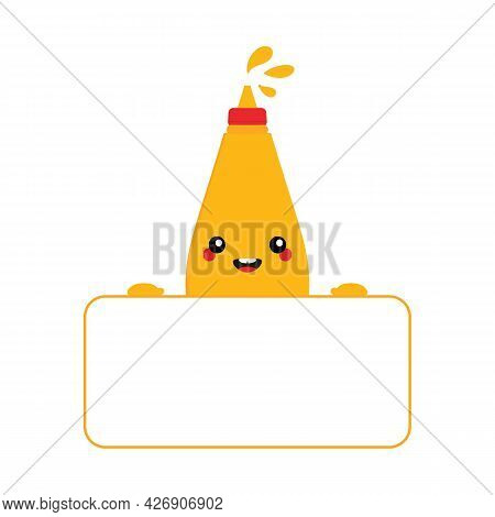 Cute Smiling Cartoon Style Bottle Of Mustard Holding In Hands Blank Card, Banner For Food, Fast Food