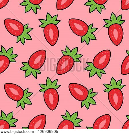 Cute Cartoon Style Pink Strawberries Vector Seamless Pattern Background.