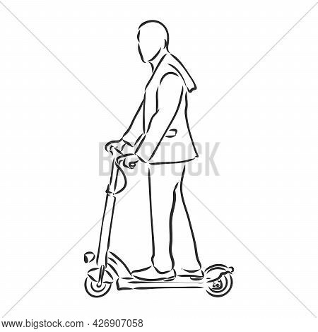 Continuous Line Woman Rides An Electric Scooter With Raised Leg