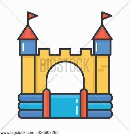 Bouncy Inflatable Castle. Tower And Equipment For Child Playground. Vector Line Illustration Isolate