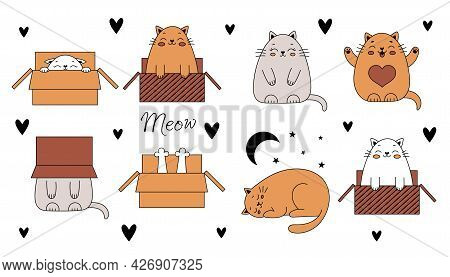 Cute Doodle Cats. Funny Cats In A Box. Vector Illustration With Pets Isolated On White Background.
