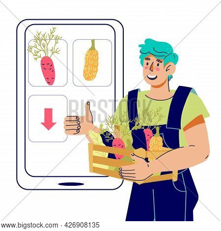 Farmer Showcase Logo. Isometric People 3d Flat Set Eco Farm Fresh Vegetable Fruit Delivery Shop. Onl