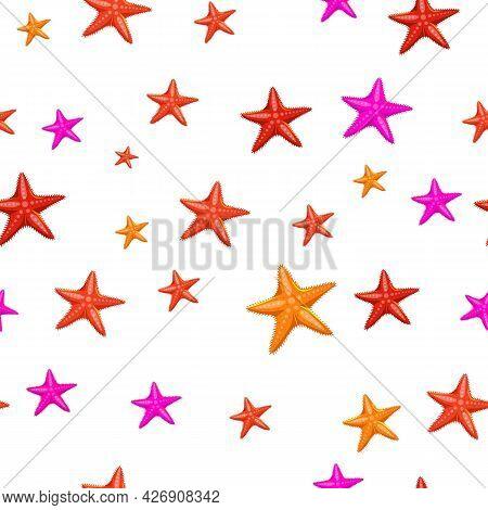Marine Life Seamless Pattern. Star Fish Decorative Background