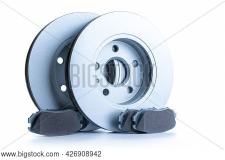 Car Parts. New Metal Car Part. Auto Motor Mechanic Spare Or Automotive Piece Isolated On White Backg