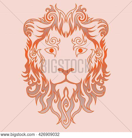 Fantasy Grey And Orange Abstract Swirly Lion Face In Flames