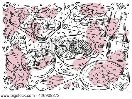 Hand Drawn Line Vector Illustration Food On White Board. Doodle French Cuisine: Ratatouille, Blue Ch